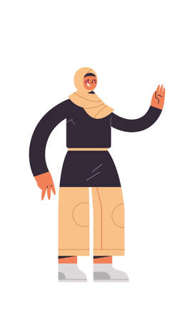 arabic woman in traditional clothes arab businesswoman pointing hand at something female cartoon character standing pose full length isolated vertical vector illustration 일러스트