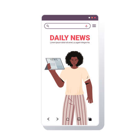 african american woman reading newspaper daily news press mass media concept smartphone screen mobile app portrait copy space vector illustration