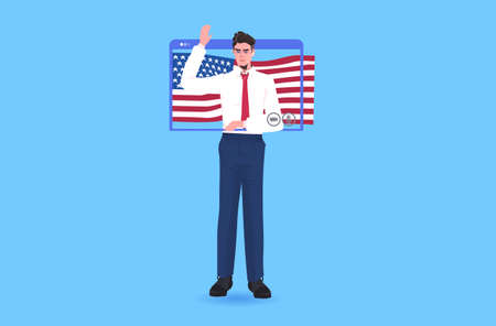 male politician with usa flag making speech during video call 4th of july independence day celebration concept man in web browser window full length vector illustration