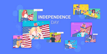 people with usa flags celebrating 4th of july american independence day celebration online communication concept web browser windows horizontal portrait vector illustration