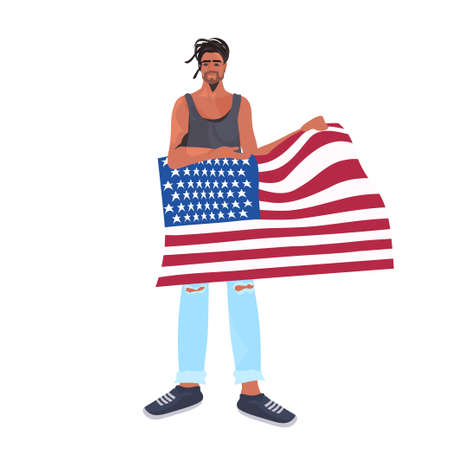 man holding usa flag 4th of july american independence day celebration concept full length vector illustration