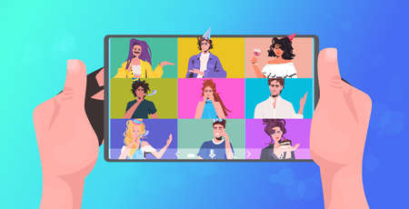 human hands using tablet pc mix race friends celebrating online party having virtual fun celebration concept people discussing during video call horizontal portrait vector illustration