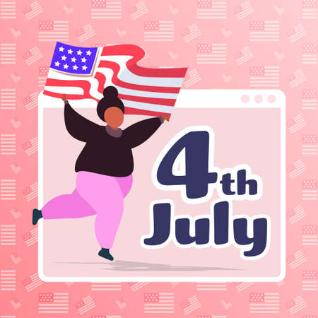 woman with usa flag celebrating 4th of july american independence day celebration concept girl having fun web browser window full length vector illustration