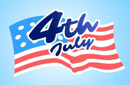 united states flag american independence day celebration 4th of july banner lettering greeting card horizontal vector illustration
