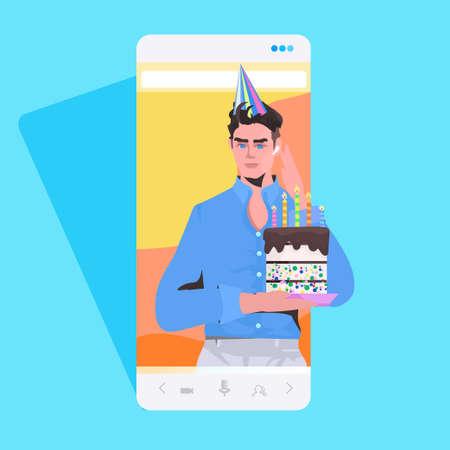 man in festive hat holding cake celebrating online birthday party celebration concept