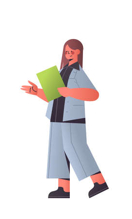 happy businesswoman holding folder attractive business woman office worker in casual clothes