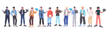 set men holding digital devices mix race guys in trendy clothes male cartoon characters collection Vettoriali