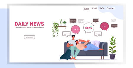couple relaxing on sofa discussing daily news chat bubble communication concept