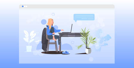 woman using laptop remote work quarantine isolation chat bubble social network communication concept Illustration
