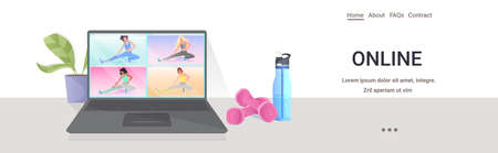 mix race women doing yoga fitness exercises on laptop screen online training healthy lifestyle