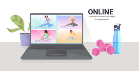 mix race women doing yoga fitness exercises on laptop screen online training healthy lifestyle concept