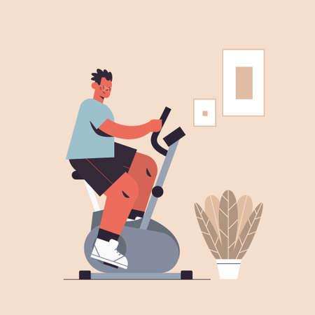 sportsman riding stationary bike man having workout cardio fitness training healthy lifestyle sport concept full length vector illustration