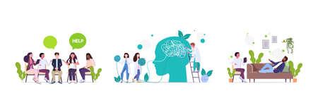 set upset people visiting psychologist depression problems stress psychotherapy session concept
