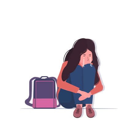 depressed schoolgirl with backpack crying depression problems stress psychotherapy bullying concept