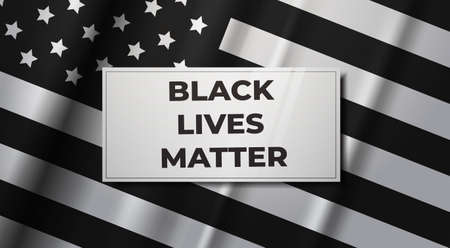 American flag awareness campaign against racial discrimination black lives matter concept