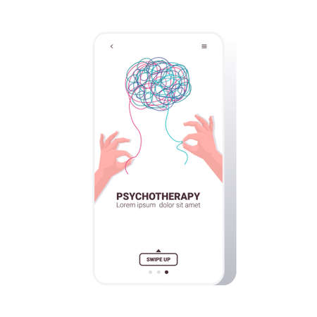 human hands solving problem in tangled brain psychotherapy session treatment of stress Ilustración de vector
