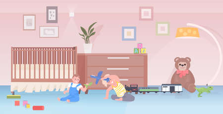 little children playing toys cute boy and girl having fun at home or kindergarten childhood concept  イラスト・ベクター素材