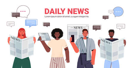 mix race people reading newspapers and discussing daily news chat bubble communication press mass media