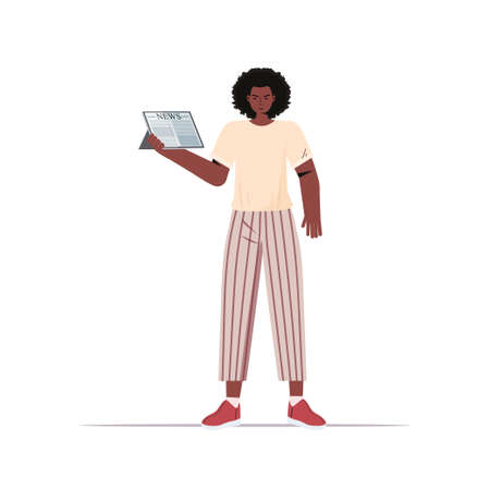 african american woman reading daily news on tablet screen press mass media concept full length Illustration