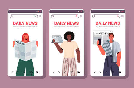 set mix race people reading newspapers daily news press mass media concept