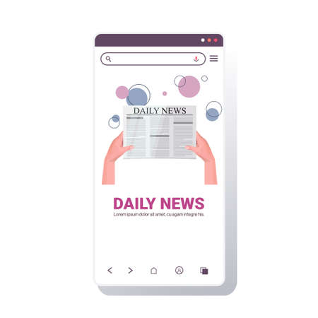 human hands holding newspaper reading daily news press mass media chat bubble communication concept Illustration