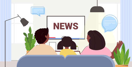 family watching TV discussing daily news program on television parents with daughter spending time together