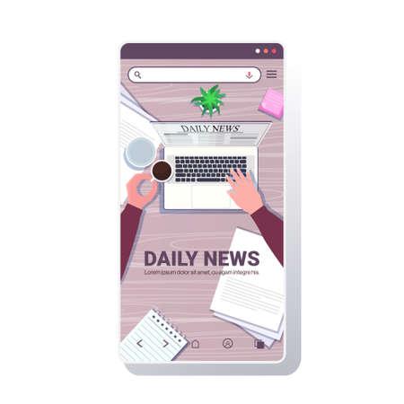 businessperson reading daily news articles on laptop screen online newspaper press mass media concept