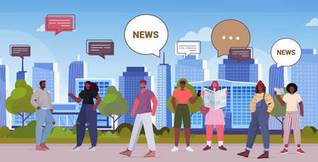 people reading newspapers and discussing daily news chat bubble communication concept