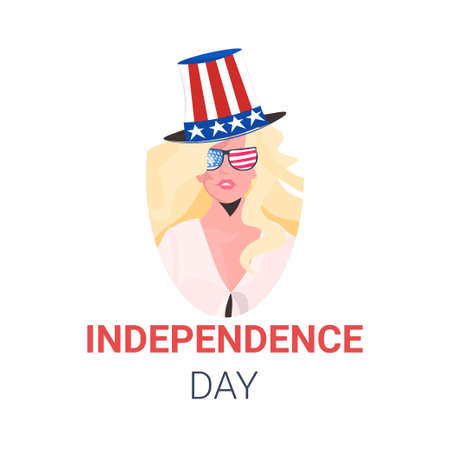 woman in festive hat with usa flag celebrating 4th of july american independence day celebration concept Illustration