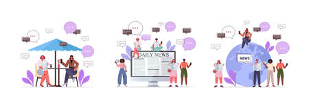 set mix race people reading newspapers discussing daily news chat bubble communication concept