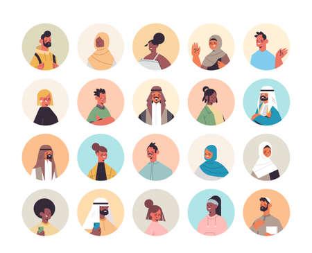 set mix race people avatars men women portraits collection male female cartoon characters Vecteurs