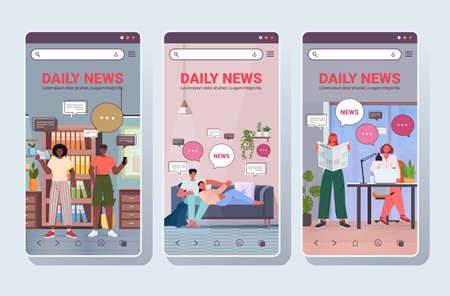 set people reading and discussing daily news chat bubble communication concept Vecteurs
