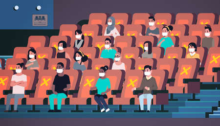 people in protective masks watching movie keeping distance to prevent coronavirus social distancing concept