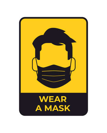 warning sign for social distancing coronavirus pandemic protection measures wear a mask yellow sticker
