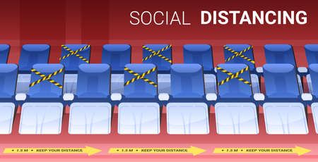 rows of blue seats in empty theater auditorium with protection measures yellow stickers social distancing Ilustracja