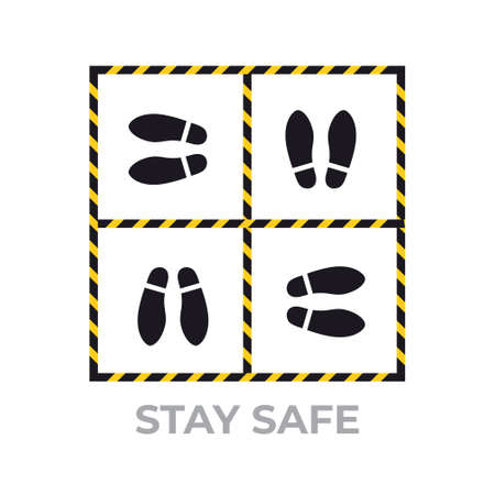 warning sign for social distancing coronavirus pandemic protection measures concept stay safe sticker