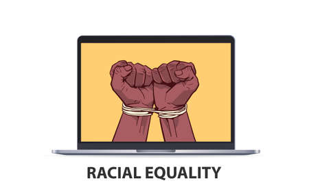 african american black fists tied with rope on laptop screen stop racism racial equality black lives matter Vektorgrafik