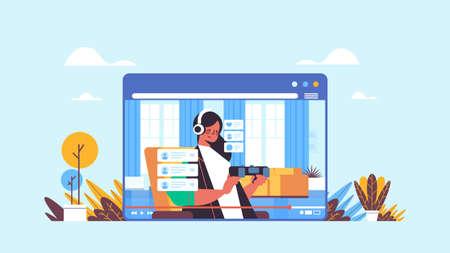 female blogger recording game process online blog live streaming blogging concept Vektorgrafik
