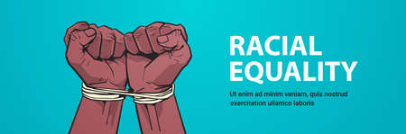 african american black fists tied with rope stop racism racial equality black lives matter concept