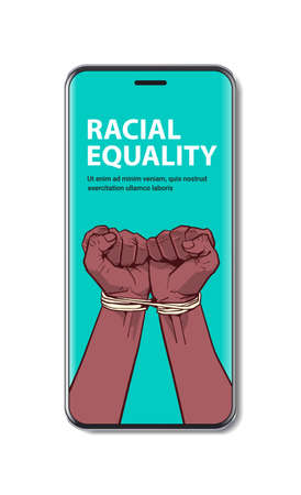 african american black fists tied with rope on smartphone screen stop racism racial equality black lives matter