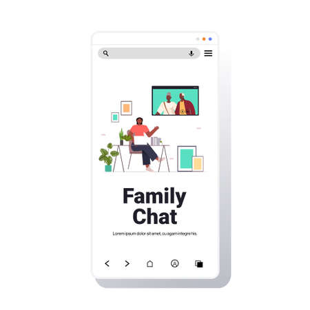 woman having virtual meeting with senior parents during video call family chat online communication