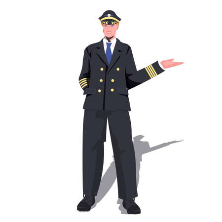 man pilot in uniform pointing hand on something aviation concept full length