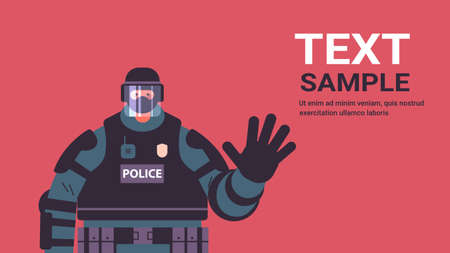 policeman in full tactical gear riot police officer waving hand protesters and demonstrations control concept Ilustración de vector