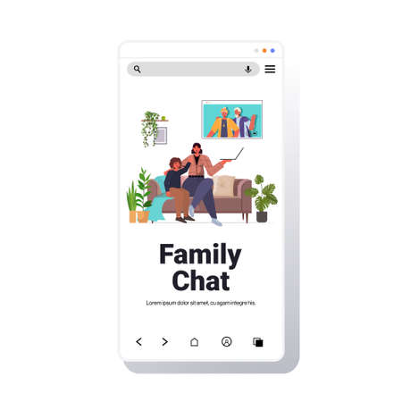 mother and son having virtual meeting with grandparents video call family chat communication concept
