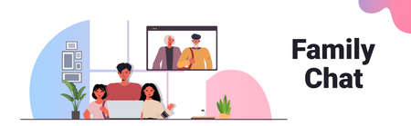 father and children having virtual meeting with grandparents during video call family chat communication