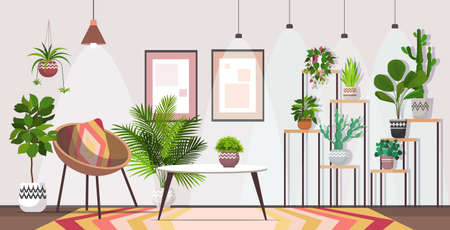 modern living room interior home apartment with houseplants Vettoriali