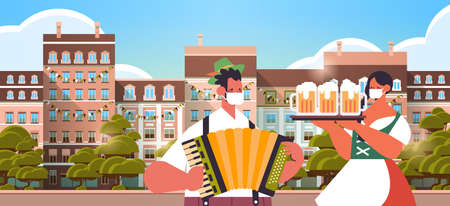 man playing accordion woman holding beer mugs Oktoberfest festival celebration concept