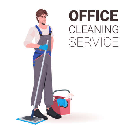 male professional office cleaner man janitor in uniform with cleaning equipment