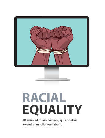 african american black fists tied with rope on monitor screen stop racism racial equality black lives matter
