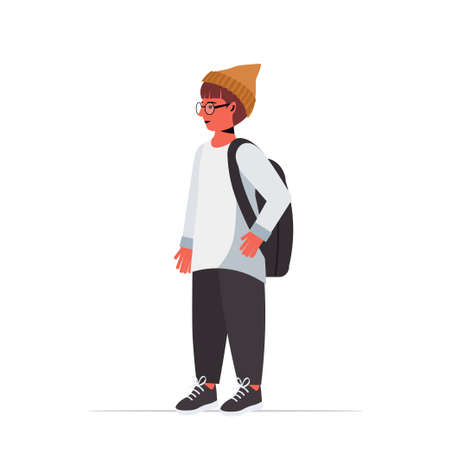 happy child cute boy in casual trendy clothes male cartoon character standing pose full length isolated vector illustration